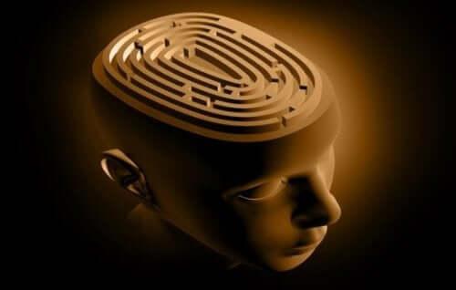 Labirynt w głowie człowieka - ilustracja mózgu