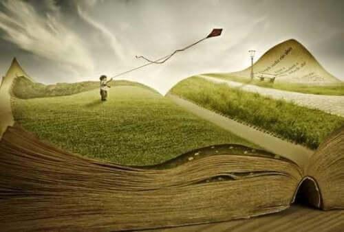 Chłopiec puszcza latawiec na otwartej książce = terapia z użyciem metafor