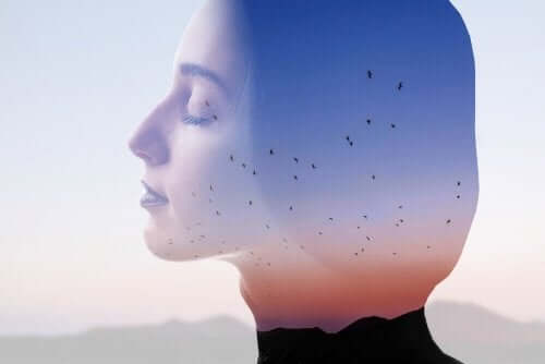 Profil kobiety na tle nieba z ptakami