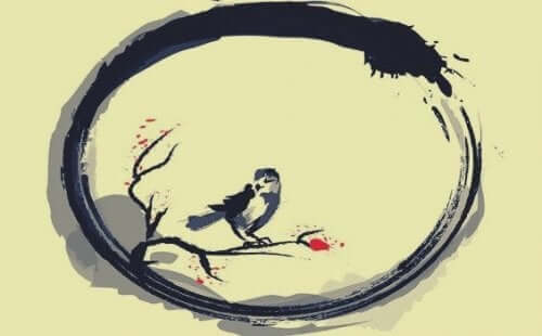 Ptak w okręgu ensō