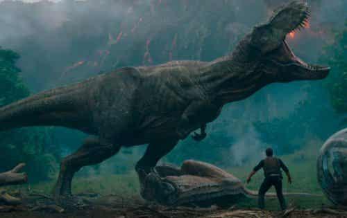 T-rex i przerażony człowiek