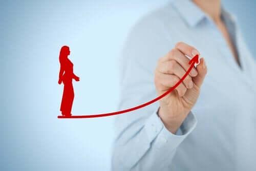 Rysunek kobiety na linii wznoszącej