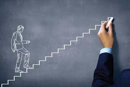 Rysunek mężczyzny idącego po schodach