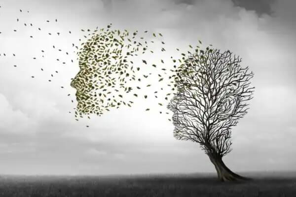 Ból głowy symbolizowany przez drzewo
