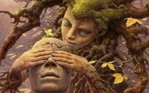 Kobieta drzewo zasłaniająca oczy mężczyźnie